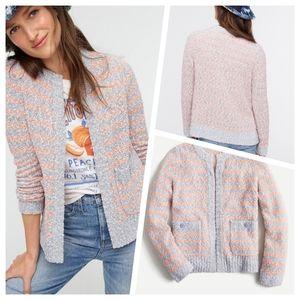 J.Crew Lightweight Cardigan Sweater in Tweed Stripe Size S